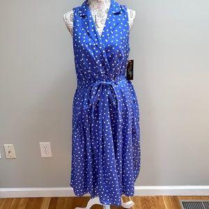 New Evan Piccone Blue Polkadot Dress 16